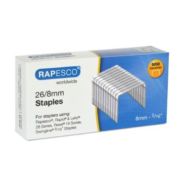 RAPESCO 26/8mm STAPLES - Hard Wire Galvanised Staples (Box 5,000)
